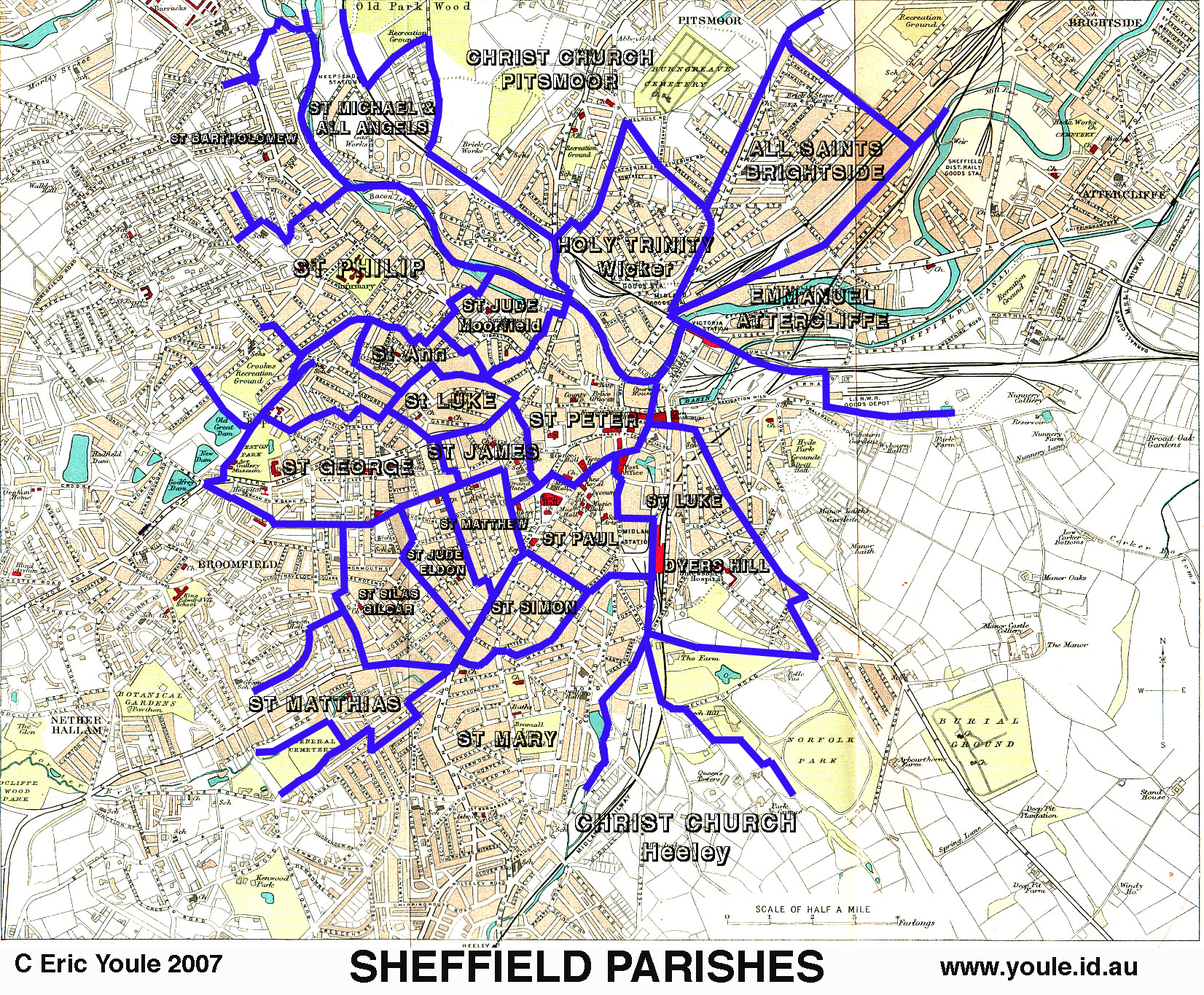 Map Of Sheffield The Sheffield Indexers   Sheffield Genealogy Links   Map of  Map Of Sheffield